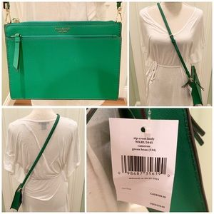 Kate spade zip crossbody green bean leather bag